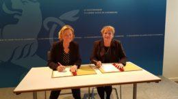 Magali Getrey, présidente et fondatrice de PADEM et Paulette Lenert, ministre de Ministre luxembourgeoise de la Coopération et de l'Action humanitaire et de la Protection des consommateurs
